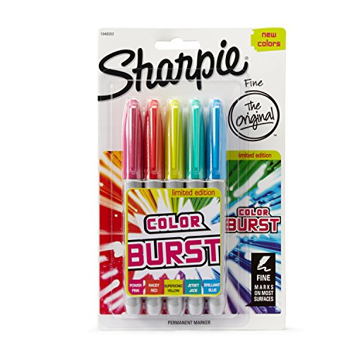 Sharpie Color Bust – Rotulador permanente de punta fina, 3 unidades, color Pack of 5 5 unidades