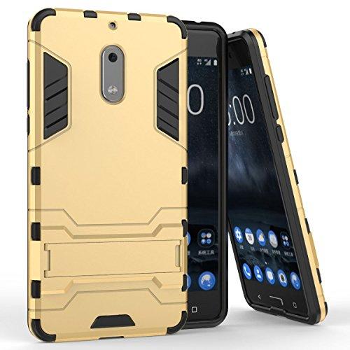 Coque pour Nokia 6 (5,5 Pouces) 2 en 1 Double Couches Étui Antichocs Protection Rigide Anti Choc avec Fonction Support (Or)