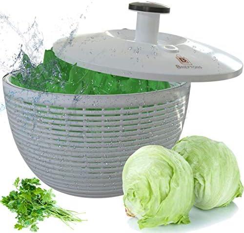 Brieftons Salad Spinner BR SS 02 Large 6 2 Quart Lettuce Greens Washer Dryer Drainer Crisper product image
