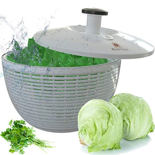 Brieftons Salad Spinner (BR-SS-02): Large 6.2 Quart Lettuce Greens Washer Dryer Drainer Crisper Strainer, Easy One-Hand Pump Operation, Compact Storage, Perfect for Washing & Drying Leafy Vegetables