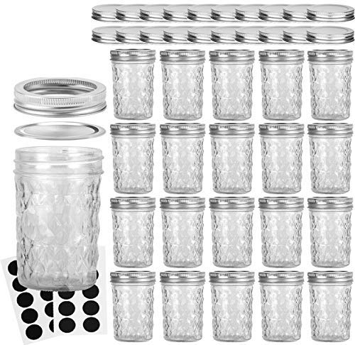 VERONES Mason Jars 8OZ, 8 OZ Canning Jars Jelly Jars with Regular Lids and Bands, Ideal for Jam, Honey, Wedding Favors, Shower Favors, Baby Foods, 20 Pack,Extra 20 Lids