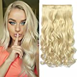 REECHO® 20' 1-Pack 3/4 Full Head Curly Wave Clips in on Synthetic Hair Extensions Hairpieces for Women 5 Clips 4.6 Oz per Piece - Blonde