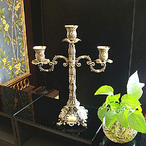 dehong Zinc Alloy Floor Candle Holders Stand 3-Armed Table Centrepiece Candle Holder Bronze Height 15.37in/39cm Dinner Table Candle Holder for Romantic Candlelight Dinner Elegant Candle Decoration
