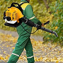 Backpack Leaf Blower Gas Powered, 230MPH, 850CFM Air Volume Shock-Proof Blower, Gas-Fired 2 Stroke 80C-C Engine, Blower for Dust and Snow Removal (Yellow )