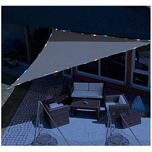 HEWYHAT Vela Solar Triangular con Cadena De Luz LED, Velas Solares Transpirables Protección Repelente Al Agua, Marquesina Permeable para Jardín Balcón Camping Terraza Exterior,3X3X3m