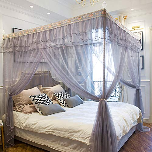 Why Choose TYX-SS European Romance Mosquito Net, Palace 4 Mounted Princess Lace Edge Stainless Steel Square Account Encryption Mesh Bed Decoration,Gray,150195cm