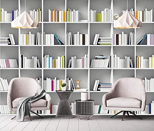 Wallpaper Papel Pintado 3D Revistero De Biblioteca De Libros 3D Papel Pintado No Tejido Mural Pared Pintado Papel Tapiz 3D Decoración Dormitorio Fotomural Sala Sofá Mural-200cm×140cm