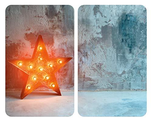 WENKO Placas cobertoras de vidrio universales Star, Cubiertas de cocina, juego de 2 unidades, para todos los tipos de cocinas, Vidrio endurecido, 30 x 1.8-5.5 x 52 cm, Multicolor