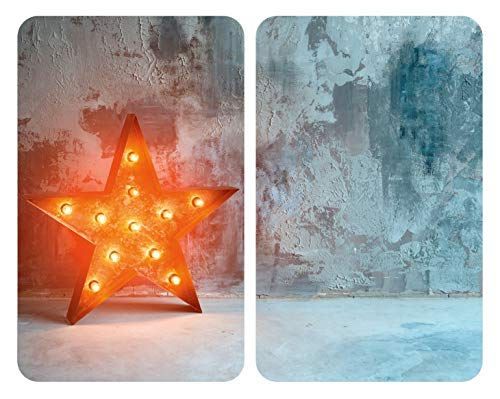 WENKO Plaque de protection en verre universel Star - Set de 2 protège-plaques pour tous les types de cuisinière, Verre trempé, 30 x 1.8-5.5 x 52 cm, Multicolore