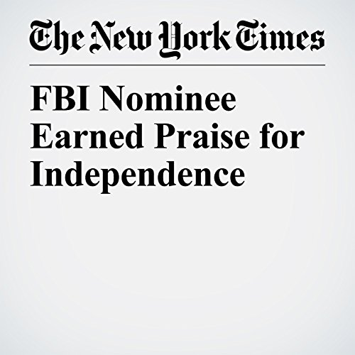 FBI Nominee Earned Praise for Independence copertina