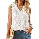 DISSA Camiseta sin mangas para mujer, de un solo color, elegante, sin mangas, S6479 Blanco XXL
