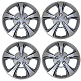 TuningPros WSC3-616S14 4pcs Set Snap-On Type (Pop-On) 14-Inches Metallic Silver Hubcaps Wheel Cover