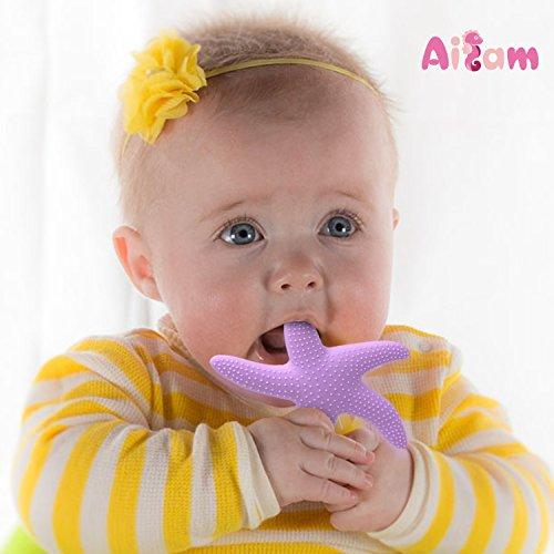 Ailams 赤ちゃん 食品グレード の シリコーン 歯がため 臼歯 おもちゃ ヒトデ(パープル)
