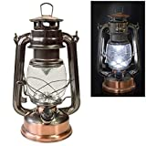 Voche Traditional 15 LED Hurricane Miners Lantern Light Lamp - <span class='highlight'>Antique</span> Style Bronze <span class='highlight'>Copper</span> <span class='highlight'>Finish</span> and Adjustable Dimmer Function