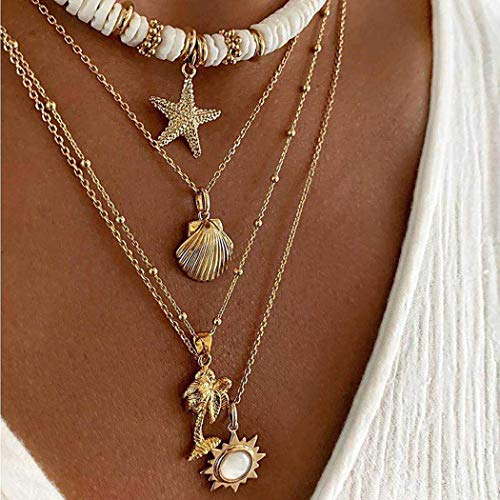 Jeweky Choker Starfish Necklace Layered Gold Shell Pendant Necklaces Chain Jewelry for Women and Girls