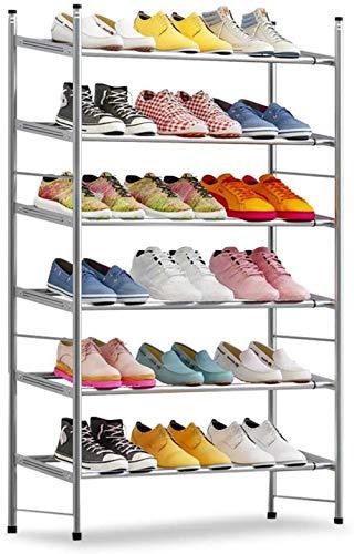 A-Generic Shoemaker con 6 Niveles, Gris Plateado, apilable y Ajustable, para salón, aderezo, Profundidad Alta (Blanco)-Gris Plateado