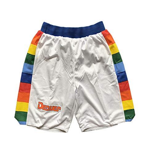 FGRGH NÚGGêTS Pantalones Cortos de Baloncesto para Hombres, 15# Jókìc Pantalones Cortos de Baloncesto atlético para Hombre Malla Activewear, Transpirable y Quickdry (S ~ White-XL