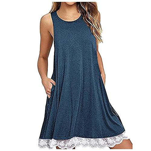 Pangki - Vestido de encaje sin mangas para mujer con dobladillo de encaje azul M