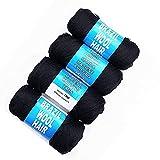 Brazilian Wool Hair Yarn for Hair Jumbo Braiding Senegalese Twist 4pcs (Black)