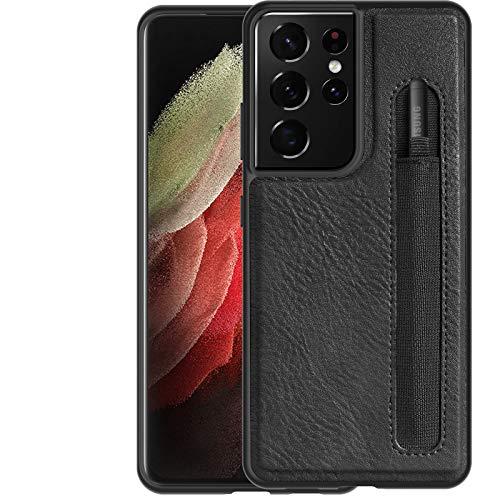 FHZXHY - Custodia per Galaxy S21 Ultra con penna elastica, in pelle, compatibile con Samsung Galaxy S21 Ultra 5 g 7' (2020), colore: Nero