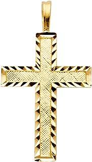 14K Yellow Gold Small Religious Thin Cross Charm Diamond...