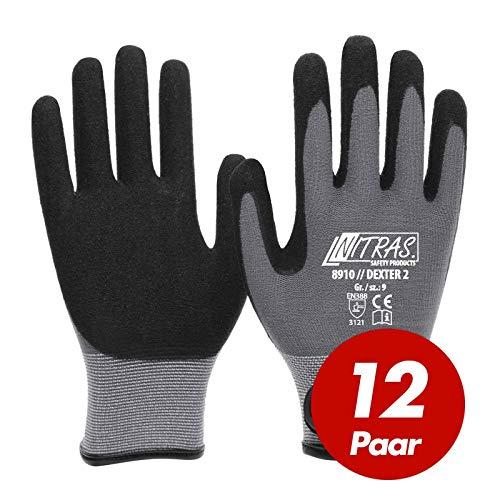 12 Paar NITRAS 8910 Dexter 2 Mechanikerhandschuhe Werkstatthandschuhe Handschuhe mit Klettverschluss, Größe:9