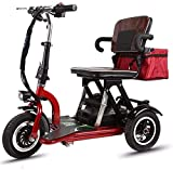 XCBY Mobility Scooter, 3 Wheeled Folding Electric Scooter, 300w Motor, Foldable, Reversible, 20km/H, 3 Speed Adjustment,Suitable For The Elderly, The Disabled, Adults 40KM