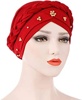 AutumnFall Women Summer Ruffle Cancer Chemo Cap Solid Color Beaded Diamond Twist Baotou Muslim Headscarf Cap (Wine)