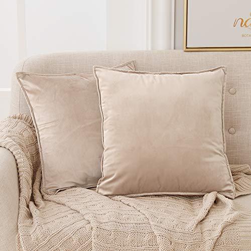 Deconovo Kissenbezug Zierkissenhülle Samt Kissenhülle Wohnzimmer Kopfkissenbezug Sofa 45x45 cm Taupe 2er Set