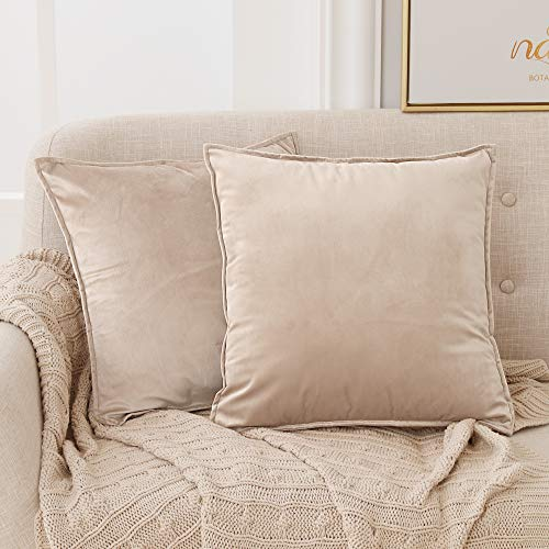 Deconovo Kissenbezug Couch Abwaschbar Kissenbezug Samt Kissenüberzug Kissenhülle 65x65 cm Taupe 2er Set