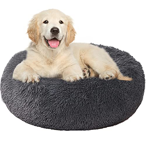 Round Cat Bed Small Dog Bed,Dark Grey Fluffy Faux Fur Pet Bed,Wariming Cozy Soft Donut Bed for Small Medium Dogs and Cats(20'')
