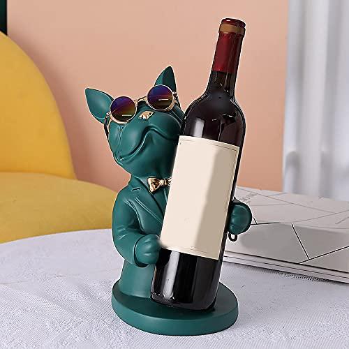 Syina Figura de bulldog francés de resina de 30,7 cm, soporte para botellas de vino, escultura de animales, estante para botellas de vino, soporte para botellas, regalos, decoración de mesa