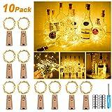 NASHARIA Lot de 10 Bouteilles de 25 LED 2,5 m de lumière Blanche Chaude, Bouteille, guirlandes Lumineuses LED pour Bouteille de vin, décoration de Bouteille, fête, Vacances, Noël Blanc Chaud