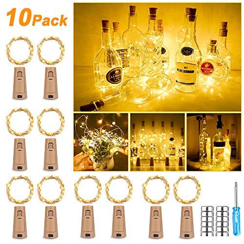 Nasharia 【10 stuks 25 leds 2,5 m flessen licht warm wit, fles LED lichtsnoer sfeerverlichting wijnfles, werkt op batterijen voor fles, DIY, decoratie, feest, vakantie, Kerstmis warmwit