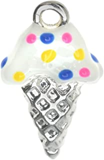 Delight Beads Silver Plated Charm with Enamel - Vanilla Ice Cream Cone with Sprinkles 18mm (1)