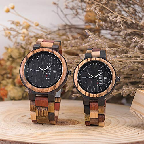 Watch Wooden Colorful Bamboo Watches Week & Date Display Quartz Couples Watches Handmade Casual Multifunction Wood Wrist Watch