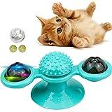 Juguetes Interactivos para Gatos, Juguete de Gato Giratorio Ventosa, Gato Juguete Molino de Viento, para Cosquillas y Limpieza de Dientes, con Bola Brillante Giratoria y Hierba Gatera