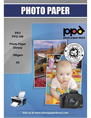 PPD 100 x A5 Papier Photo Brillant, 180g, Impression Jet d'Encre, Haute Brillance, Séchage Instantané, Résistance à l'eau, Alimentation Facile, 100 Feuilles Maxi Pack Economique, PPD-100–100