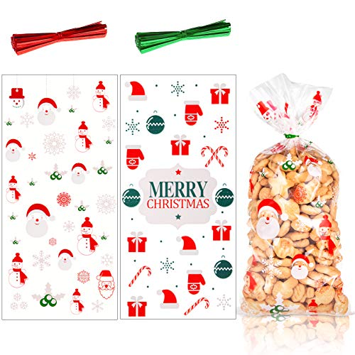 MELLIEX 100 Stück Weihnachten Süßigkeiten Tüten, Cellophantüten Plätzchentüten Klarsichttüten mit 200er Twist Krawatten für Bonbon Plätzchen Süßigkeiten