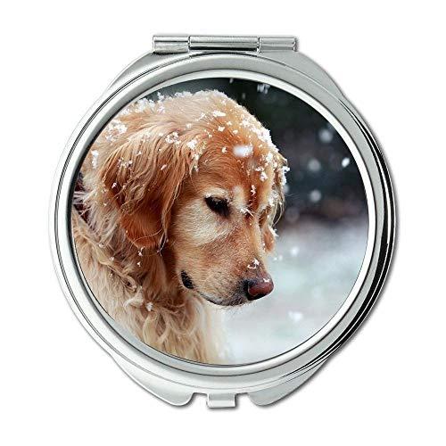 Yanteng Spiegel, Travel Mirror, golden Retriever Welpen Hund, Taschenspiegel, 1 X 2X Lupe