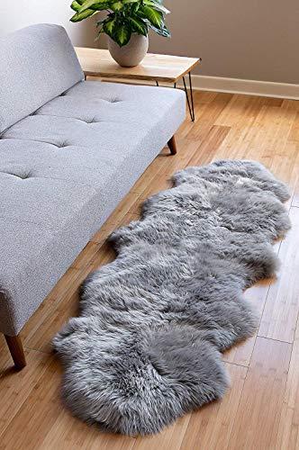 Faux Lammfell Schaffell Teppich Lammfellimitat Teppich Longhair Fell Optik Nachahmung Wolle Bettvorleger Sofa Matte (Grau, 60x160cm)
