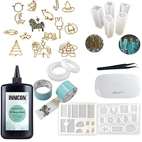 Kit transparente de resina epoxi UV, sin olor, 9 moldes de silicona, 15 biseles de espalda abierta, 15 pigmentos UV lámpara bricolaje joyería colgante pendientes kit