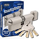 GERCAR Pro 90 mm Cilindro con pomolo 45/45 massiccio con pomello, serratura a cilindro, in ottone nichelato opaco, con 5 chiavi, chiave reversibile, A:45 B: 45 - Set da 1