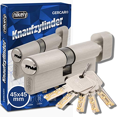 GERCAR Pro 90 mm Cilindro con pomolo 45 45 massiccio con pomello, serratura a cilindro, in ottone nichelato opaco, con 5 chiavi, chiave reversibile, A:45 B: 45 - Set da 1