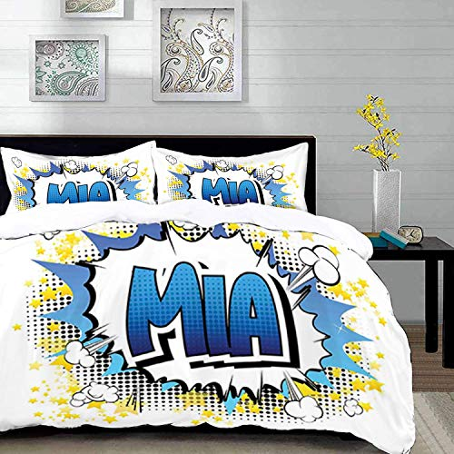 Qoqon bedding - Duvet Cover Set, Mia,Widespread Feminine Name in The United States with Comic Book Style Graphic Elements,Multic,Microfibre Duvet Cover Set with 2 Pillowcase 50 X 75cm
