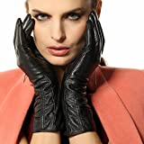 Warmen Women's Lambskin Leather Plush Lined Long Winter Gloves Sleeves (M, Black (Touchscreen Feature))