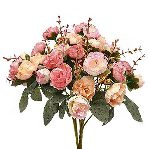 2 Ramo de Rosas Artificiales, 21 Cabezas, Flores Artificiales para Boda, Hogar, Jardín, Fiesta, Mesa Decoración, 7 Tallos, Rosa Claro