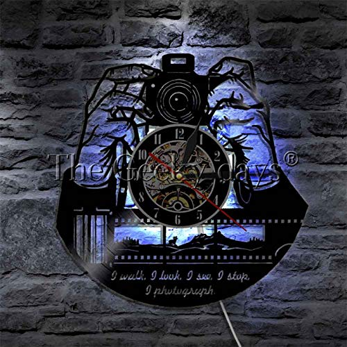 YINU, 1 Pieza, Cita de fotógrafo, Arte de Pared, Registro de Vinilo, Reloj de Pared, decoración de fotografía, Reloj de Pared para camarógrafo, Reloj de grabación de gramófono