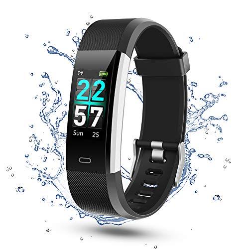 Glymnis Fitness Armband Fitness Tracker IP68 Wasserdicht Smartwatch Farbbildschirm Pulsuhren Aktivitätstracker und Schrittzähler mit Pulsmesser 0,96 Zoll für Damen Herren (Schwarz)