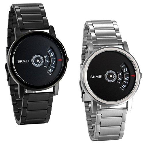 JewelryWe Reloj de Hombre Deportivo Negro, Reloj de Caballero Grande Diseño Original Movimiento Cuarzo Japones, Reloj Minimalista